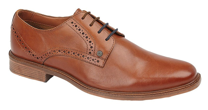 Lambretta Leather Plain Brogue Shoe - Tan