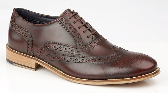 Roamers Oxblood Leather Brogue Shoe