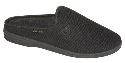 Dunlop Black Ribbed Mule Slippers