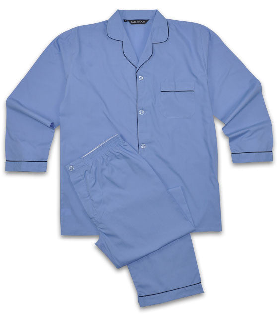 Rael Brook Plain Poly/Cotton Pyjamas - Blue