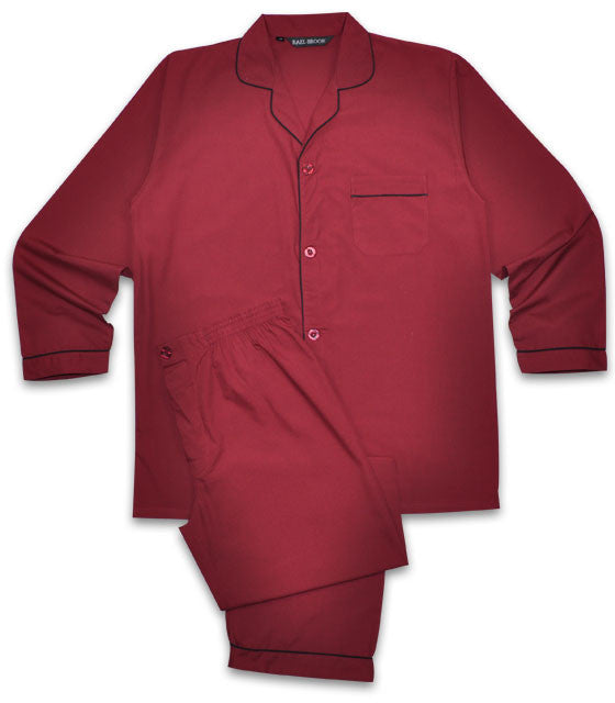 Rael Brook Plain Poly/Cotton Pyjamas - Wine