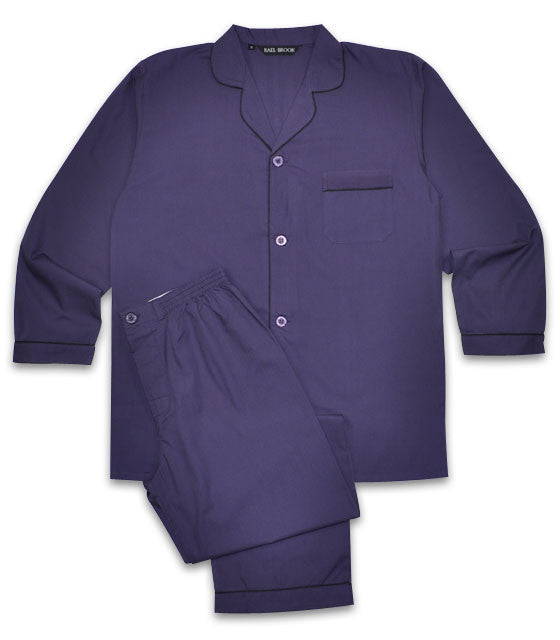 Rael Brook Plain Poly/Cotton Pyjamas - Purple