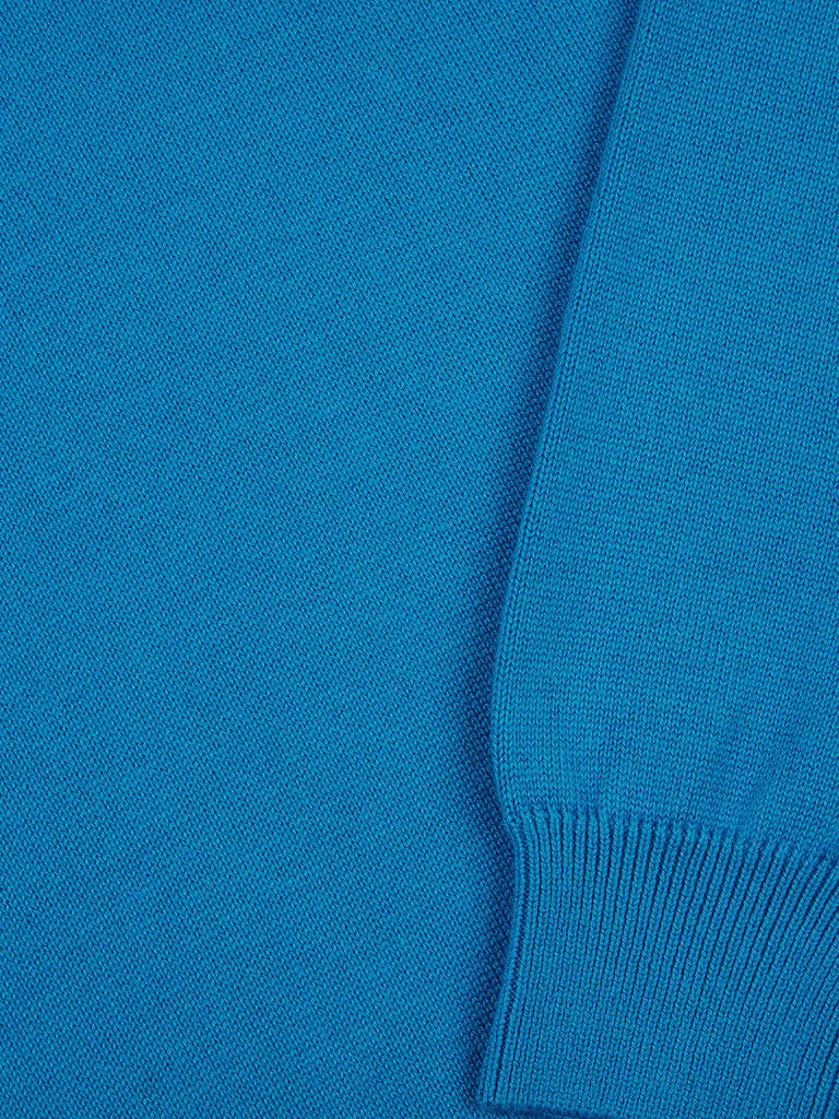 Drifter Round Neck Cotton Blend Pullover - Bright Blue