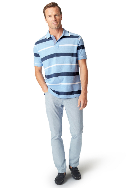 Brook Taverner Hooped Polo Shirt - Sky Blue  COMING SOON