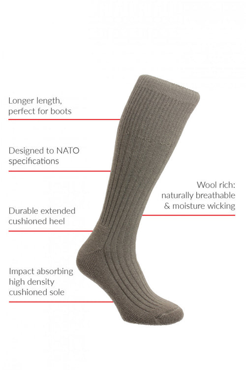 HJ Hall Commando Boot Socks - Black