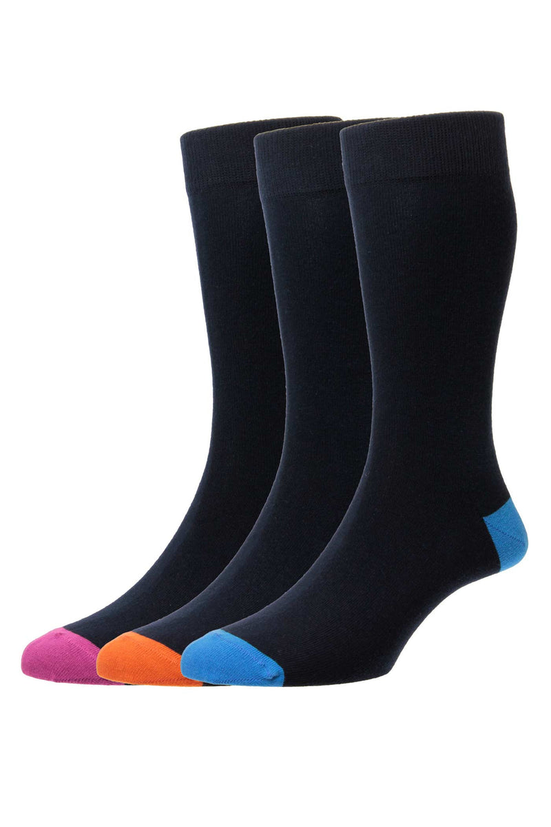 HJ Hall Plain Cotton Rich Socks 3 Pair Pack - Navy/Contrast