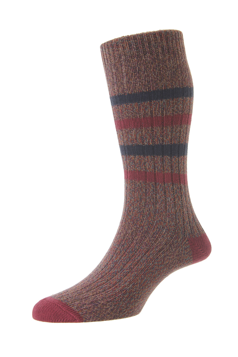 HJ Hall Chunky Cotton Casual Socks - Port