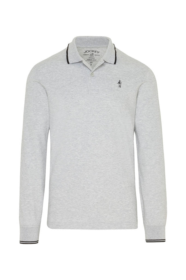 Jockey USA Originals Long Sleeve Polo Shirt - Heather Grey