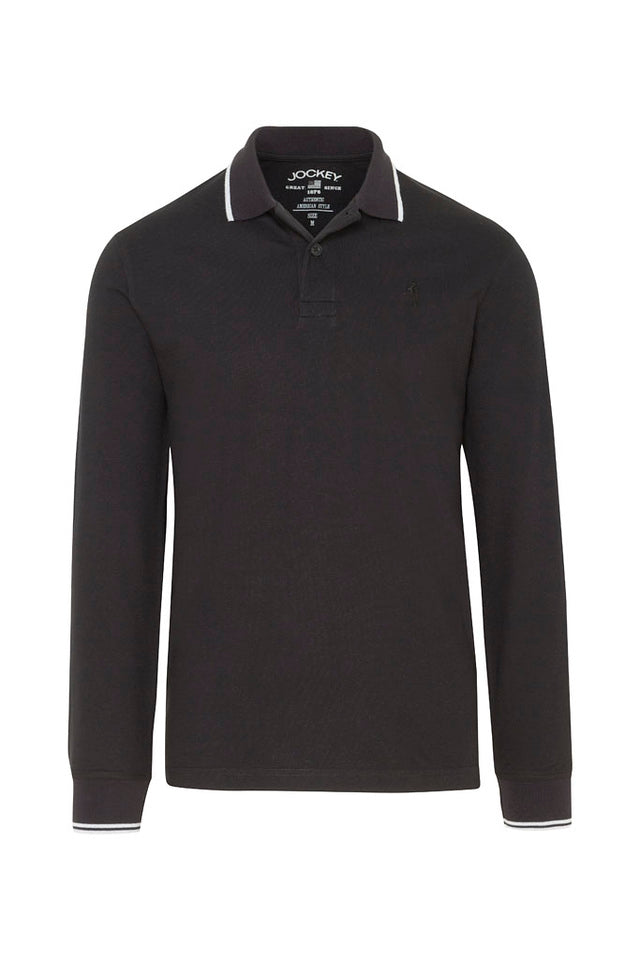 Jockey USA Originals Long Sleeve Polo Shirt - Black