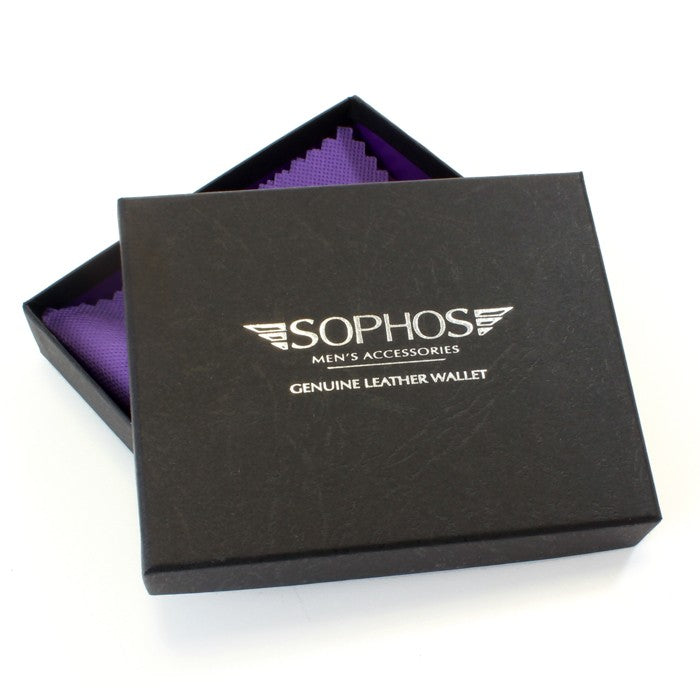 Sophos Black Leather Tab Wallet With Colour Stitch