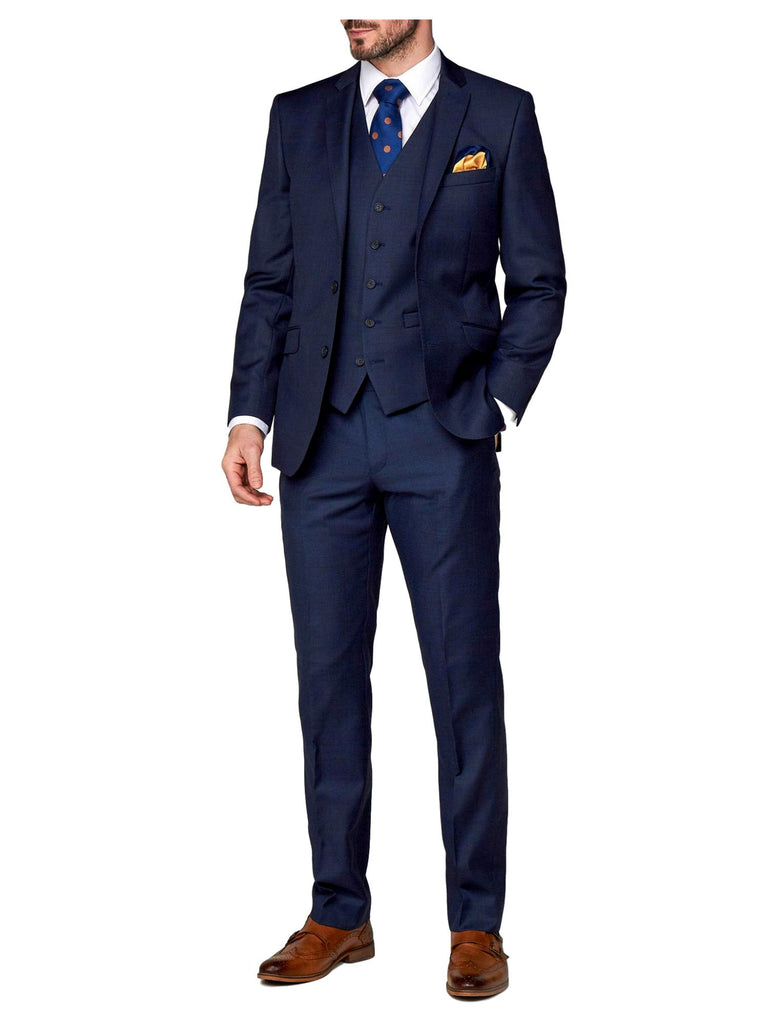 Scott Tapered Fit Mix & Match Suit Trousers - Ink Blue Sharkskin