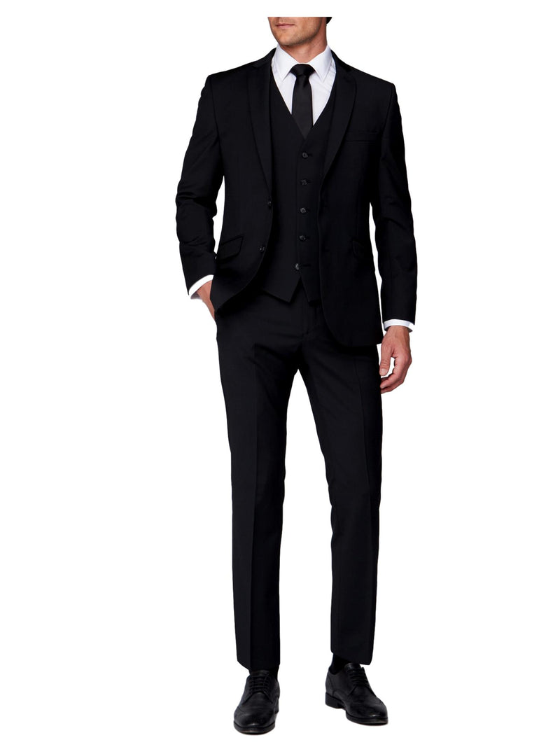Scott Tapered Fit Mix & Match Suit Waistcoat - Black