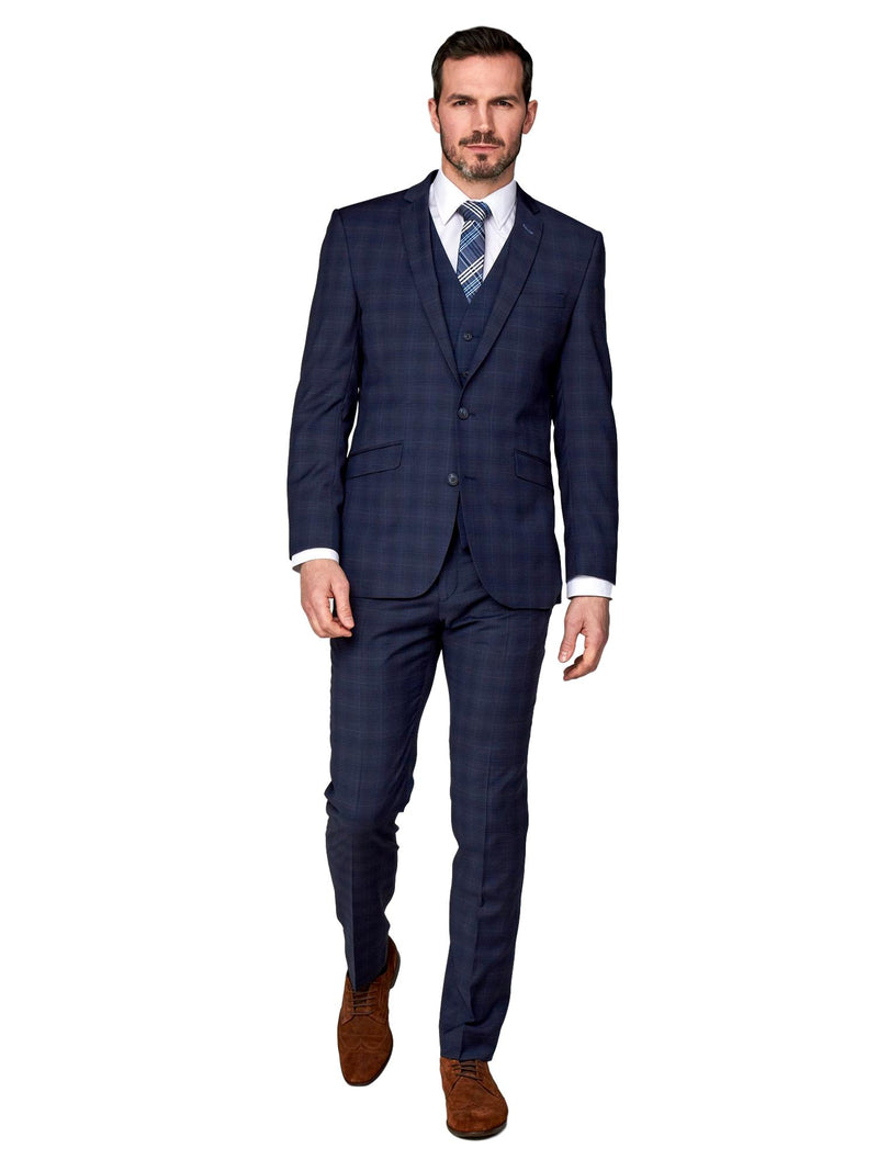 Scott Tapered Fit Mix & Match Suit Waistcoat - Airforce Check