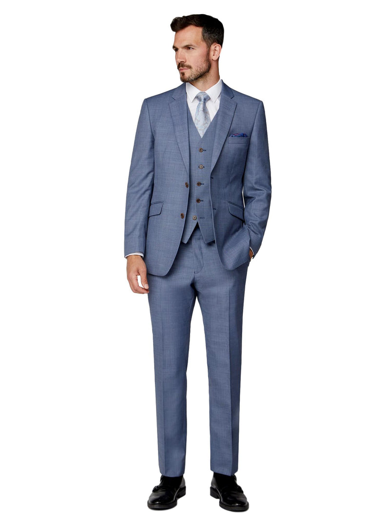 Scott Classic Fit Mix & Match Suit Waistcoat - Light Blue Sharkskin