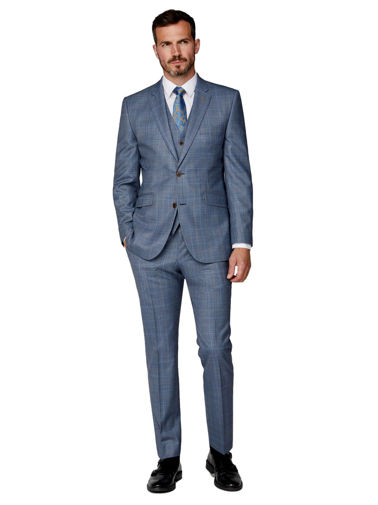 Scott Classic Fit Mix & Match Suit Waistcoat - Light Blue/Tan Check