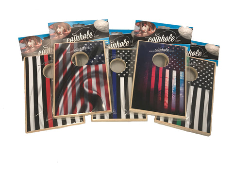 American Thin Line Flag Coinhole™ Combo Set - Buy 5 Get 1 set of coins, and a bag for FREE!!