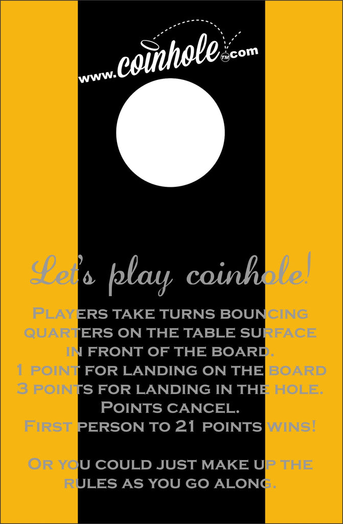 Black and Gold Coinhole™ Board With Rules