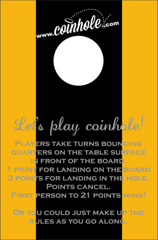Black and Gold Coinhole™Board With Rules