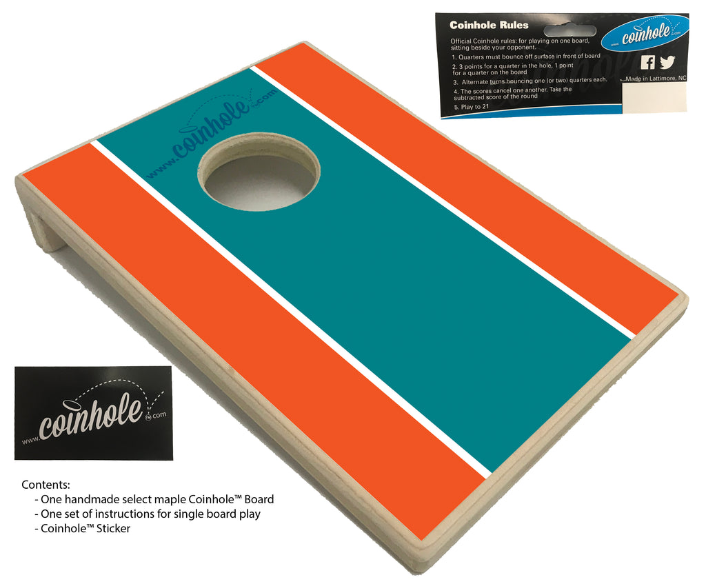 Aqua, Orange, and Blue Coinhole™ Board