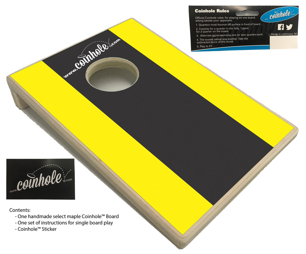 Yellow and Black Racing Stripe Coinhole™ Board