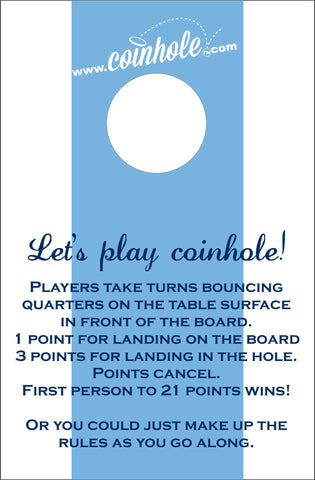 Light Blue and White Coinhole™ Board With Rules