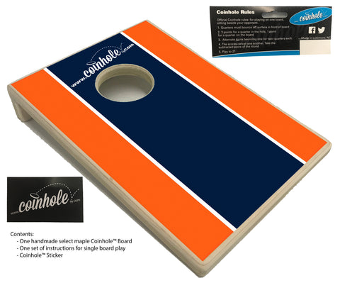 Dark Blue and Orange Coinhole™ Board