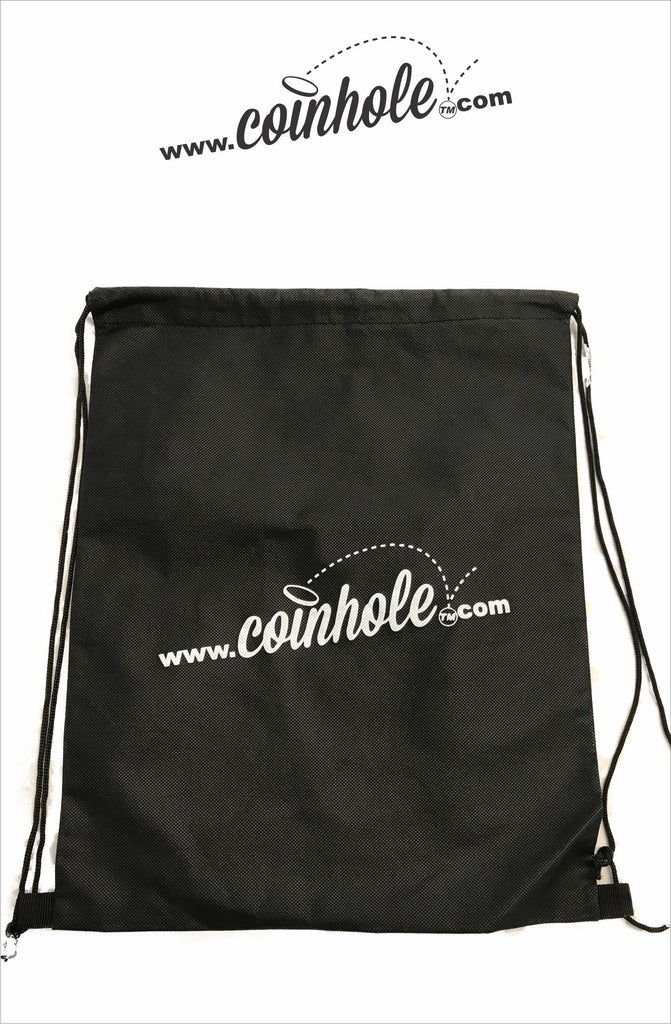 black coinhole board carrying bag with white logo
