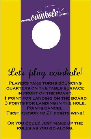 Purple and Yellow Coinhole™ Board with rules
