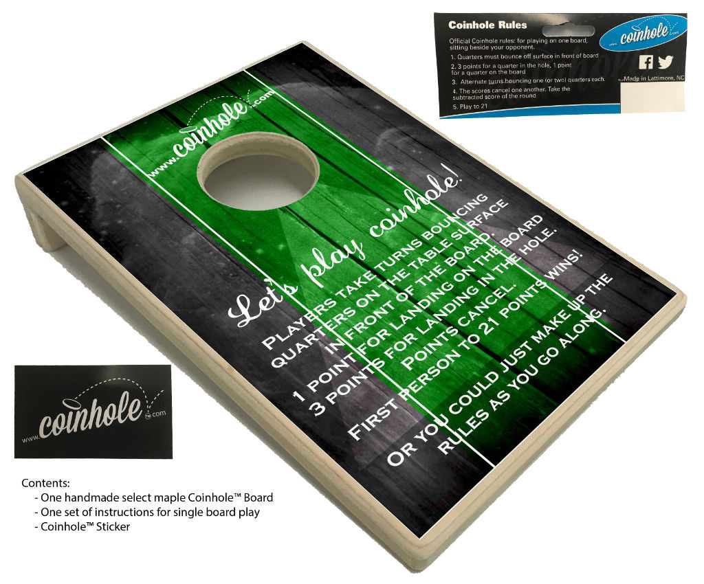 green and black official coinhole board
