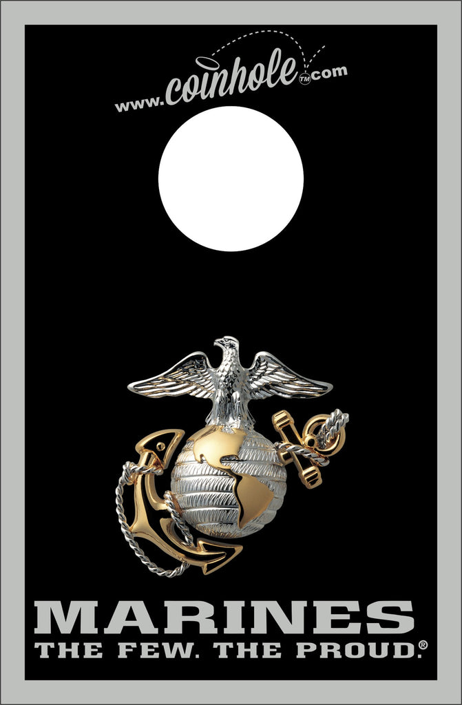 Marines Silver and Black Coinhole™ Board - Officially Licensed