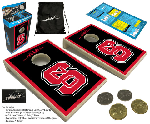 NC State Block S Black Coinhole™ Game Set