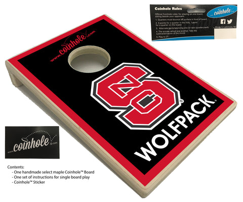NC State Block S Wolfpack Black Coinhole™ Board