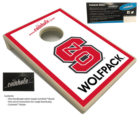 NC State Block S Wolfpack White Coinhole™ Board