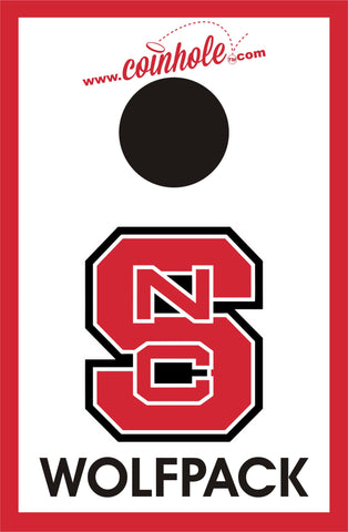 NC State Block S Wolfpack White Coinhole™ Board - Officially Licensed