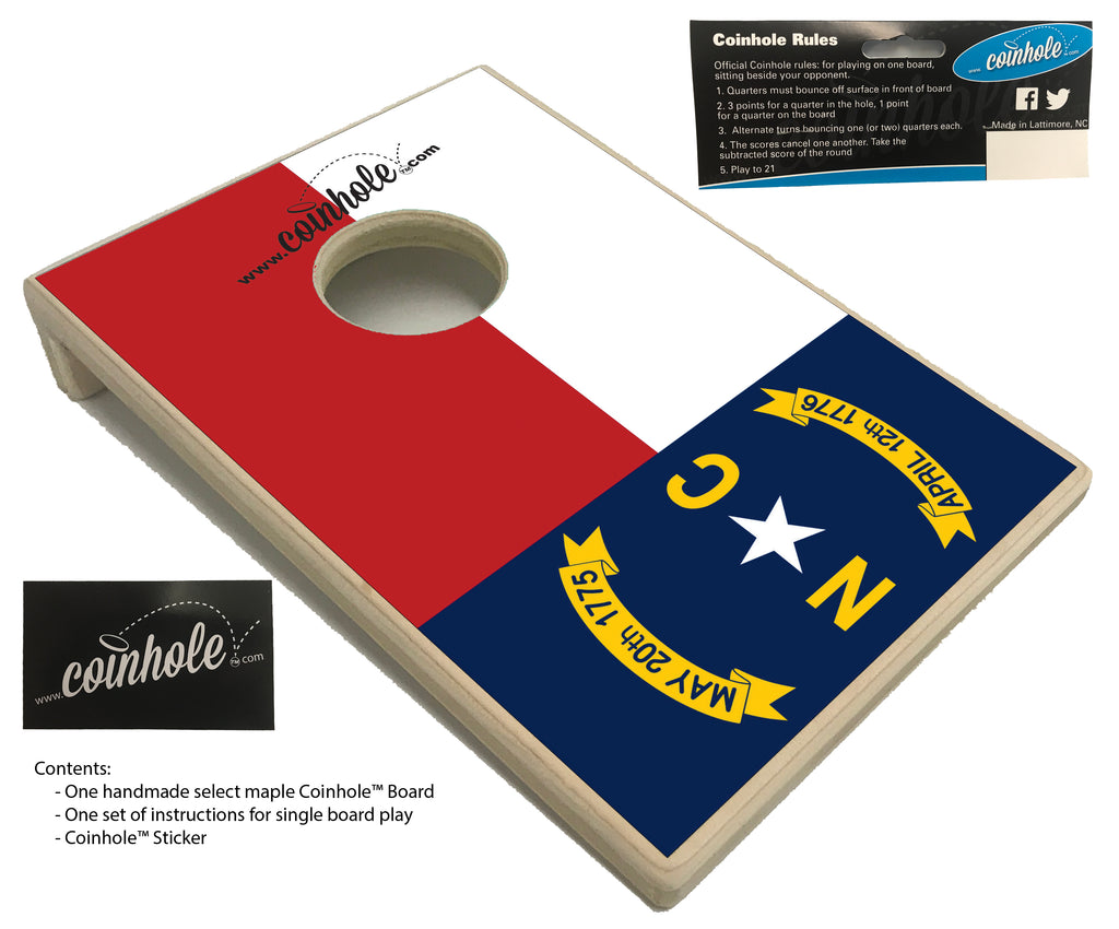 North Carolina State Flag Coinhole™ Board