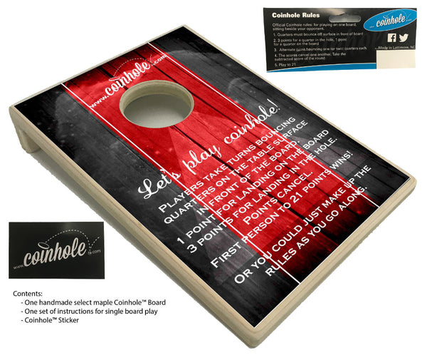 red and black official coinhole board