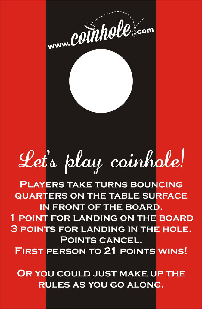 Red and Black Racing Stripe Coinhole™ Game Set With Rules