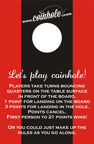 Red and Black Racing Stripe Coinhole™ Boards with rules