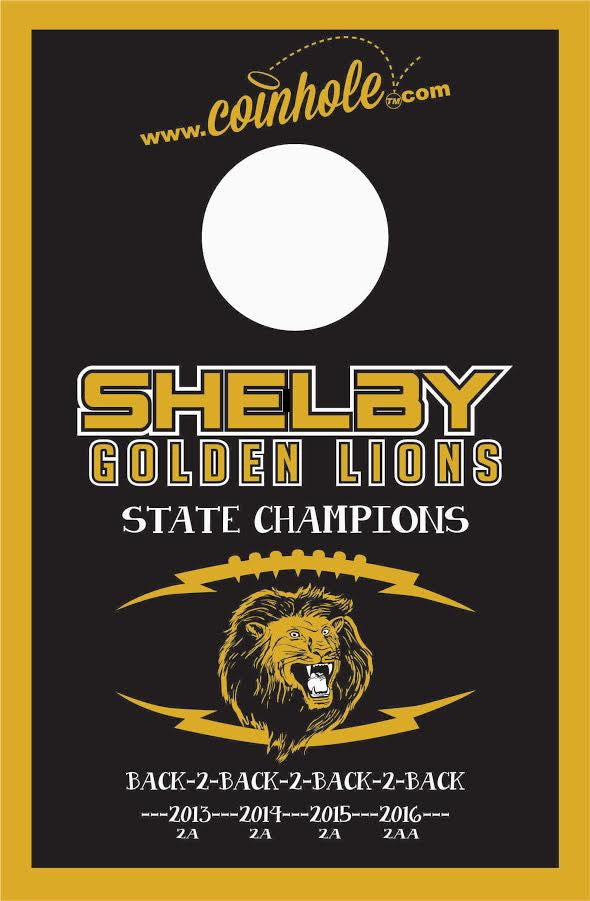 Shelby High School 4-peat Coinhole™ Board.