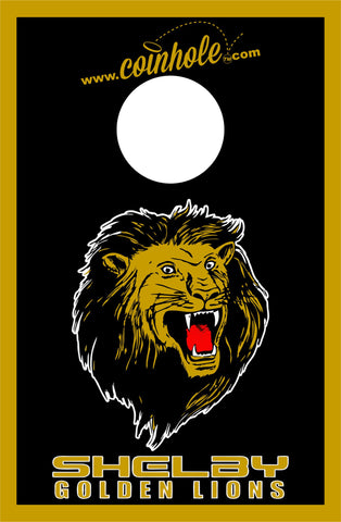 Shelby High Golden Lion Black Coinhole™ Board
