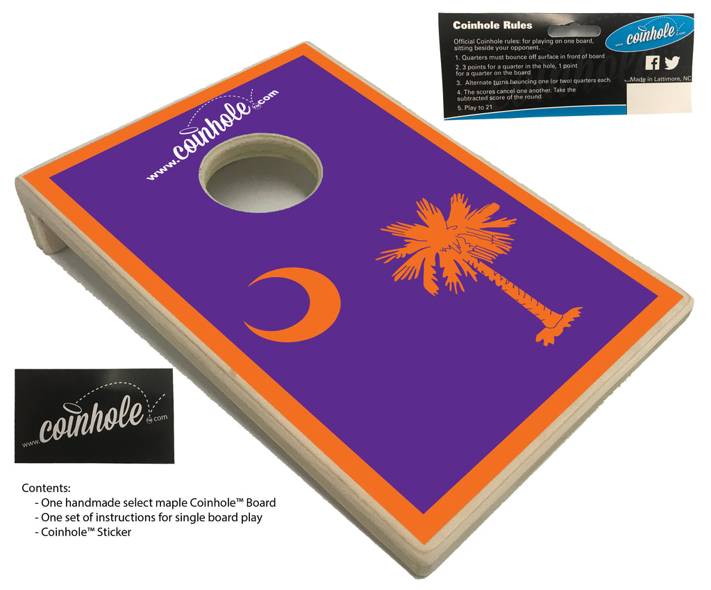 South Carolina Orange and Purple Flag Coinhole™ Board