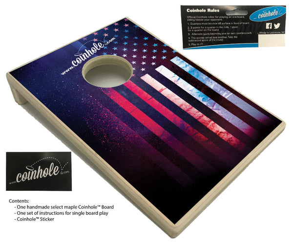 textured american flag coinhole board