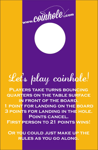 Purple and Gold Coinhole™ Board with rules