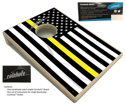 Yellow/Gold Thin Line Flag Coinhole™ Board
