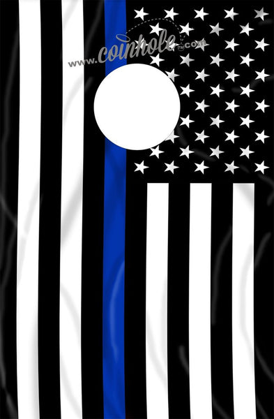 Thin Blue Line American Flag Coinhole Game Board