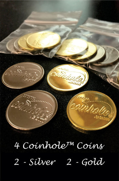 Purple and Gold Coinhole™ Game Set With Rules