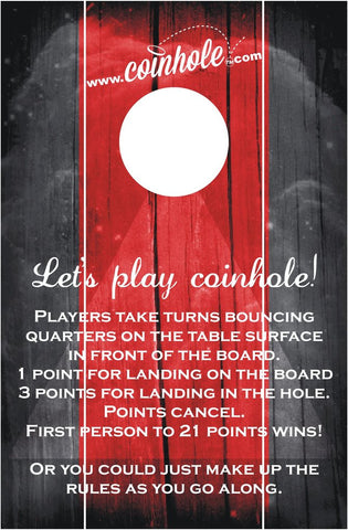 Red And Black With Rules Official Coinhole Game Board