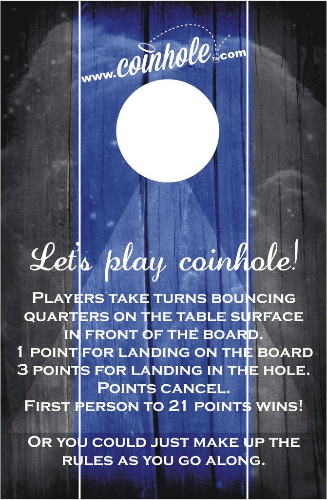 Blue and Black With Rules Official Coinhole Game Board