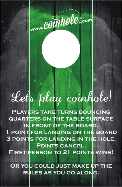 Green and Black with Rules Official Coinhole Game Board