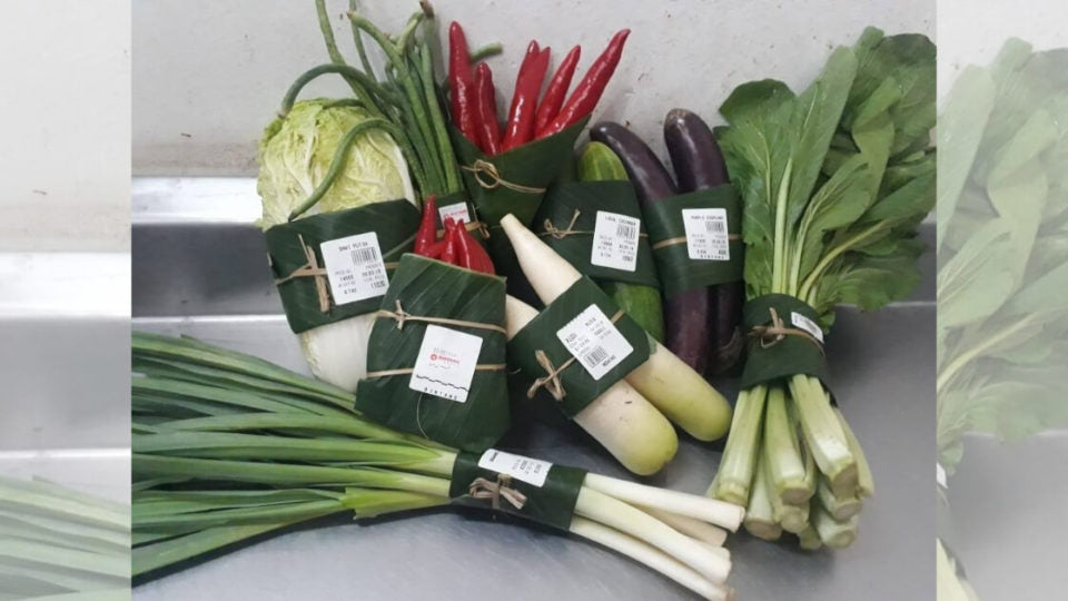 Bintang Supermarket, a Bali supermarket chain, has switched from using plastic bags to banana leaves to wrap their vegetables.